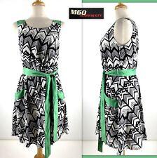 MISS SIXTY M60 Dress 8 Black White Green Geometric Belt Sleeveless Scoop Neck