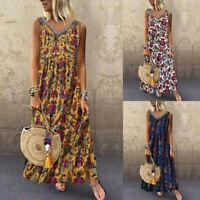 Women Plus Size Boho Folk Print V-neck Sleeveless Loose Pleated Maxi Long Dress