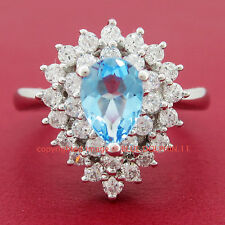 Genuine Real Solid 9K White Gold Topaz Engagement Wedding Ring Simulated Diamond