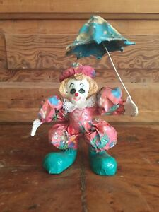 Vintage Paper Mache Clown Holding Umbrella Made In Mexico