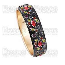MULTI COLOURED enamel F21 BANGLE BRACELET rhinestone BLACK&GOLD FASHION gift UK