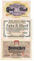 GERMANY - Lot Of 3 Different Altona Notgeld Notes. 5, 10 & 20 Mark, 1918
