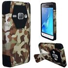For Samsung Galaxy Amp 2 Turbo Layer HYBRID KICKSTAND Rubber Case Phone Cover