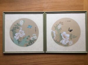 Pair of Original CHINESE Watercolour PAINTING on SILK Butterfly FLOWERS Signed