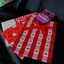 3 Valentine's Bags/Sacs sweetheart red special day New-Nib wrapping gifts