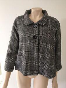 Princess Highway Size 12 Black & White 40% Wool  Swing Jacket
