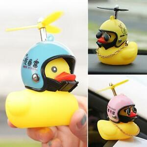 Car Dashboard Decorative Toy Duck with Helmet and Chain Dolls Car Accessories