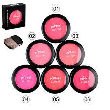 Neuf Doux Pressé Visage Rougir Poudre Fard à Joue Blush Palette + Pinceau Miroir