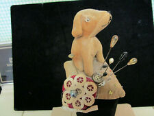 ANTIQUE DOG FIGURAL PIN CUSHION W/ 7 ANTIQUE HAT PINS FOR DECORATION, DELIGHTFUL
