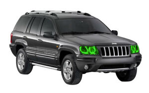 Bright Green LED Headlight Halo Ring Kit for Jeep Grand Cherokee 99-04