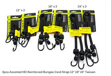 "6pcs Assorted HD Bungee Octopus Cord Strap Hook Trailer Cargo 12"" 18"" 24"" Taiwan"