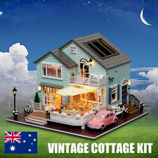 DIY Mansion Wooden Miniature Dollhouse Cottage Kit LED Light Doll house Kid Gift