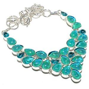 """Triplet Fire Opal, Blue Topaz Gemstone 925 Sterling Silver Jewelry Necklace 18"""""""