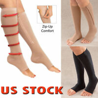 S/M/XL Compression Open Toe Socks Leg Support Unisex Knee Stockings with Zipper