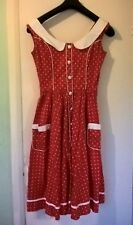 Hell Bunny Alaia Red Polka Dot 1950'S Inspired Swing Dress Size S Party Prom