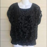 NWT Ladies Large Petite Black Velvet Blouson Top Floral Burnout  New Directions