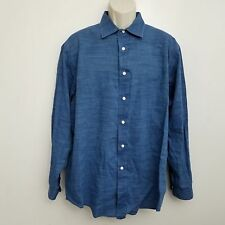 Brooks Brothers Madison Shirt Large Solid Blue Button Up Long Sleeve Cotton