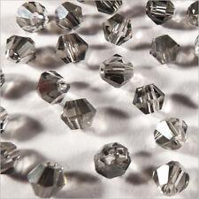 40 Perles Tchèques Toupies en Cristal 4mm Gris