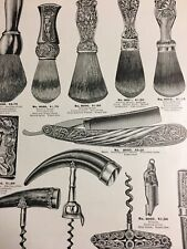 1905 Catalog Page Sterling Silver Novelties Shaving Brush Cork Screw Razor Ad