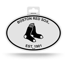 Boston Red Sox Oval Decal Sticker 3x5 Inches Ship Black & White