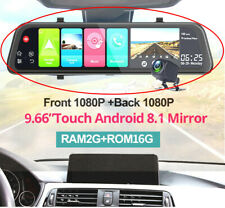 9.66in Car DVR Dash Cam Recorder Rearview Mirror Android 8.1+1pc Rearview camera