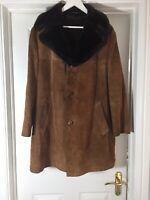 Genuine Sheepskin Mens Tan Jacket fleece lined Vintage retro Styling Del Boy L