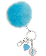 DreamWorks Trolls NWT Faux Fur Blue Pom Pom Keychain Watch Charm Purse Puff NB