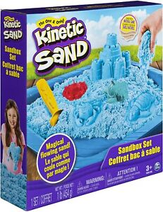 Kinetic Sandcastle Kit Set 3 Molds Tool BLUE Sand & Play Tray Never Dries Out