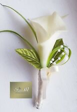 Ivory Calla Lily Buttonhole, Pearl , Artificial Wedding Flowers