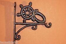 (1) Ships Wheel, Plant Hanger, Nautical, Cast Iron, Bird Feeder Hanger N-24
