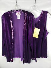 Quacker Factory Women's Velour Cardigan Tank Top Set Purple Size XL Sequins