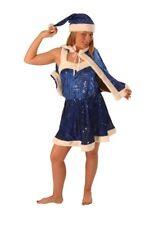 Christmas Costume - Girl Santa Dress - Sexy Short 4 Piece Sequin Velvet - Blue