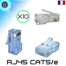 Lot de 10 fiches RJ45 a sertir (Connecteurs reseau ,Prises Ethernet, Embouts)