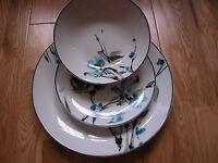 NEXT TEAL BLUE NARA DINNER WARE SET NIHON FLORAL PORCELAIN 12 PIECE BRAND NEW
