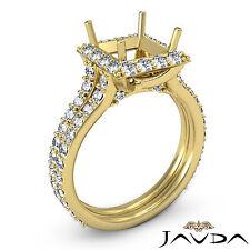 Diamond Engagement Princess Semi Mount Pave Ring VS1-VS2 18k Yellow Gold 1.38Ct