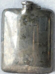 "ATQ ART DECO Webster Co. Sterling Silver Pocket Flask 6.5 ozs 5 5/8"""