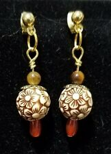Acrylic Flower Ball and Gemstone Dangle Earrings, Gold Plated Ball Stud Findings