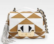 DVF Diane Von Furstenberg Shoulder Bag Purse Harper Two Tone White Gold Black