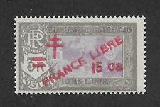 French India 1943,France Libre ,15ca on 3R,Scott # 204,VF MLH*OG (FC-6)