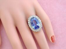 ANTIQUE DECO .96ctw DIAMOND 12.5 SYN CEYLON SAPPHIRE PLATINUM COCKTAIL RING 1930