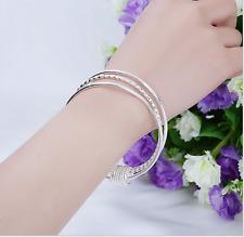 lots   Silver 3pcs/set cut link women's charms bracelet bangle bangle