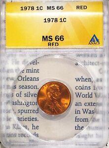 1978 1C Lincoln Memorial Cent MS 66 Red ANACS 4528483 + Bonus