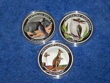 2012 Australian Silver Kookaburra, Koala, & Kangaroo 1 OZ Colorized (3 coin Set)