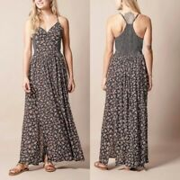 NEW Angie Nordstrom Claire Maxi Dress Smocked Side Womens Size Small Racerback
