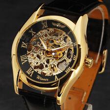 de lujo de oro hombres reloj mecánico automático de cuero de la vendimia Uhr