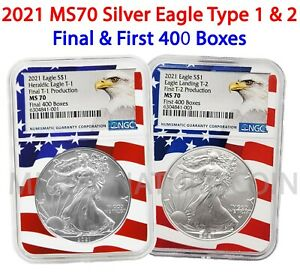 2021 Silver Eagle Type 1 & 2 Final and First 400 Boxes Pair MS70 NGC Flagcore