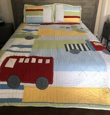RARE 3pc POTTERY BARN KIDS Airplane bus TRUCK RED CAR, FULL/QUEEN Quilt & Shams
