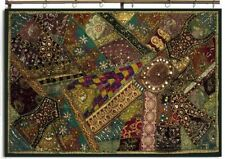 "60"" GREEN EXQUISITE VINTAGE DÉCOR HEAVILY SARI MOTI KUNDAN WALL HANGING TAPESTRY"