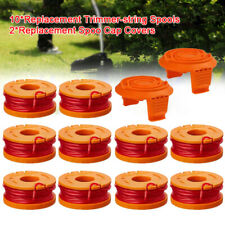 12 Pack Replace Spool String Trimmer Line For WORX 10 Pack Spool And 2 Cap Cover