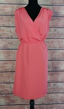 Kardashian Kurves Womens Plus Size 22W Dress Faux Wrap Sleeveless Coral Career